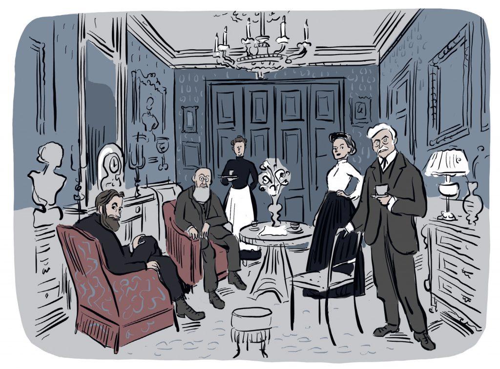 tekening interieur van 19de-eeuwse bel-etage
